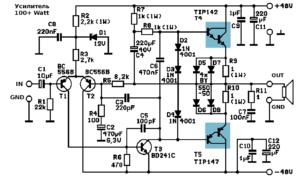 усилитель звука на транзисторах-2