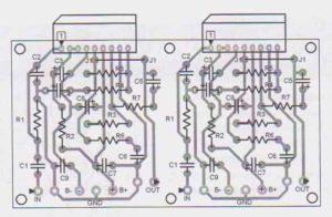 Расположение деталей на плате стереофонического усилителя