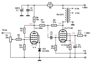Схема лампового усилителя на ГУ-50-r