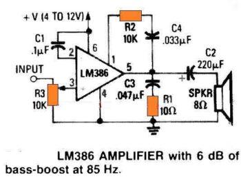 Усилитель LM386 с усилением низких частот