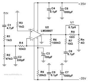 Принципиальная схема LM3886