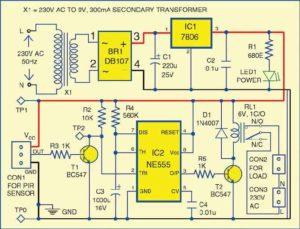 Принципиальная схема детектора движения